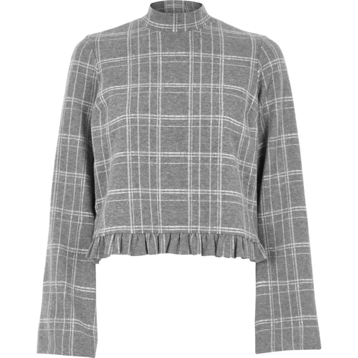 Grey check high neck frill hem top