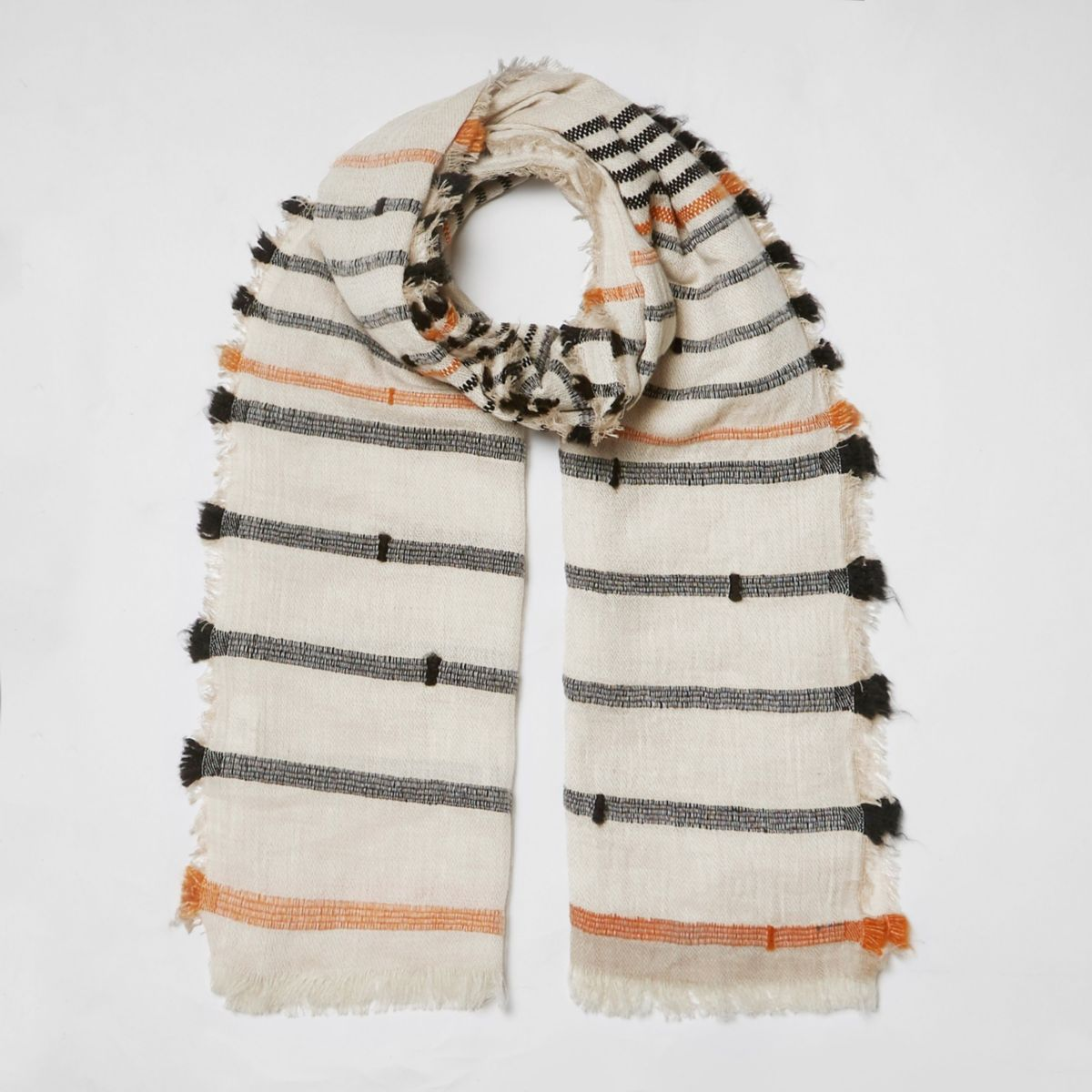 Beige stripe print textured scarf