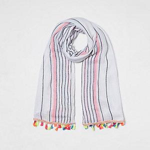 Foulard blanc rayé bordé de pampilles