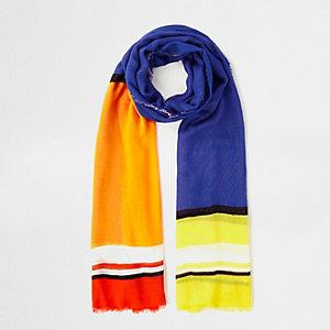 Blauwe sjaal met felle meerkleurige blokken