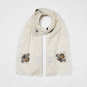 Cream bee embroidered scarf