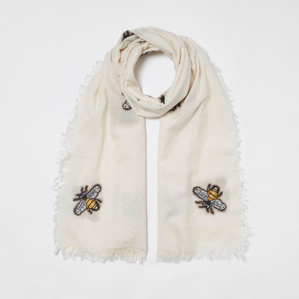Crème geborduurde sjaal met bijenprint