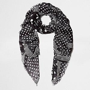 Black polka dot print frayed scarf