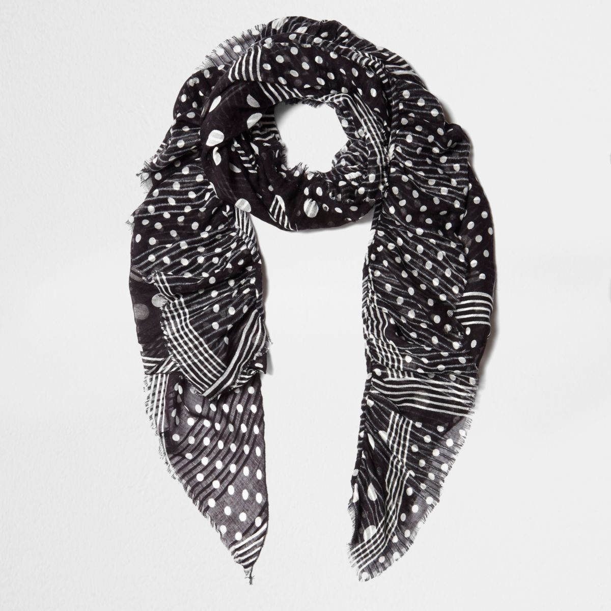 Black polka dot print frayed scarf