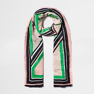Pink palm leaf mixed print scarf