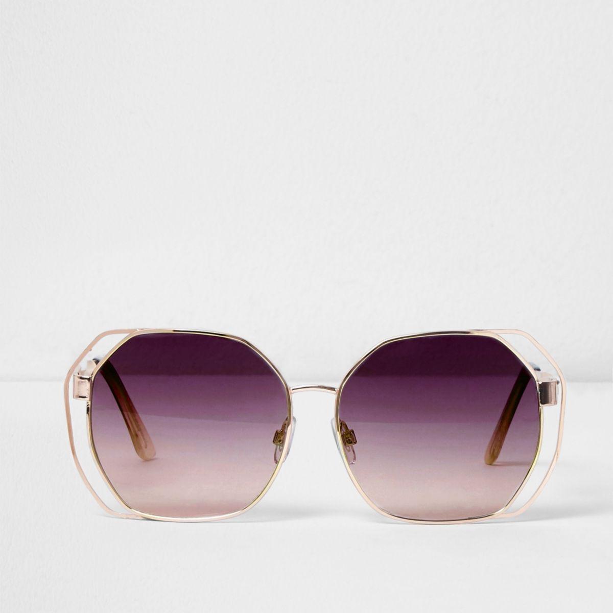 Purple lens oversized cut out sunglasses