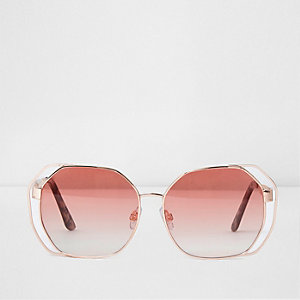 Rose gold tone cut out red lens sunglasses