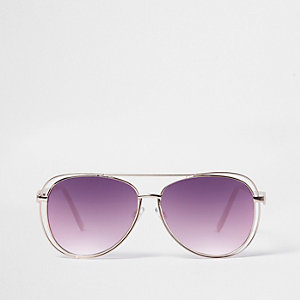 Pink lenses cut out frame aviator sunglasses