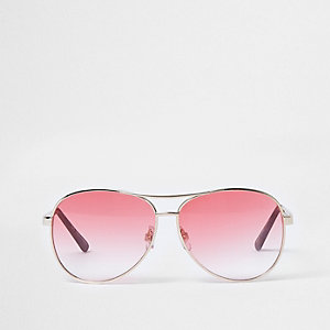 Red fade tinted lenses aviator sunglasses