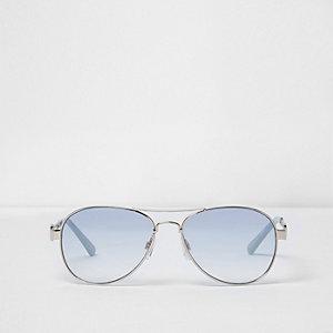 Zilverkleurige pilotenzonnebril met blauwe glazen