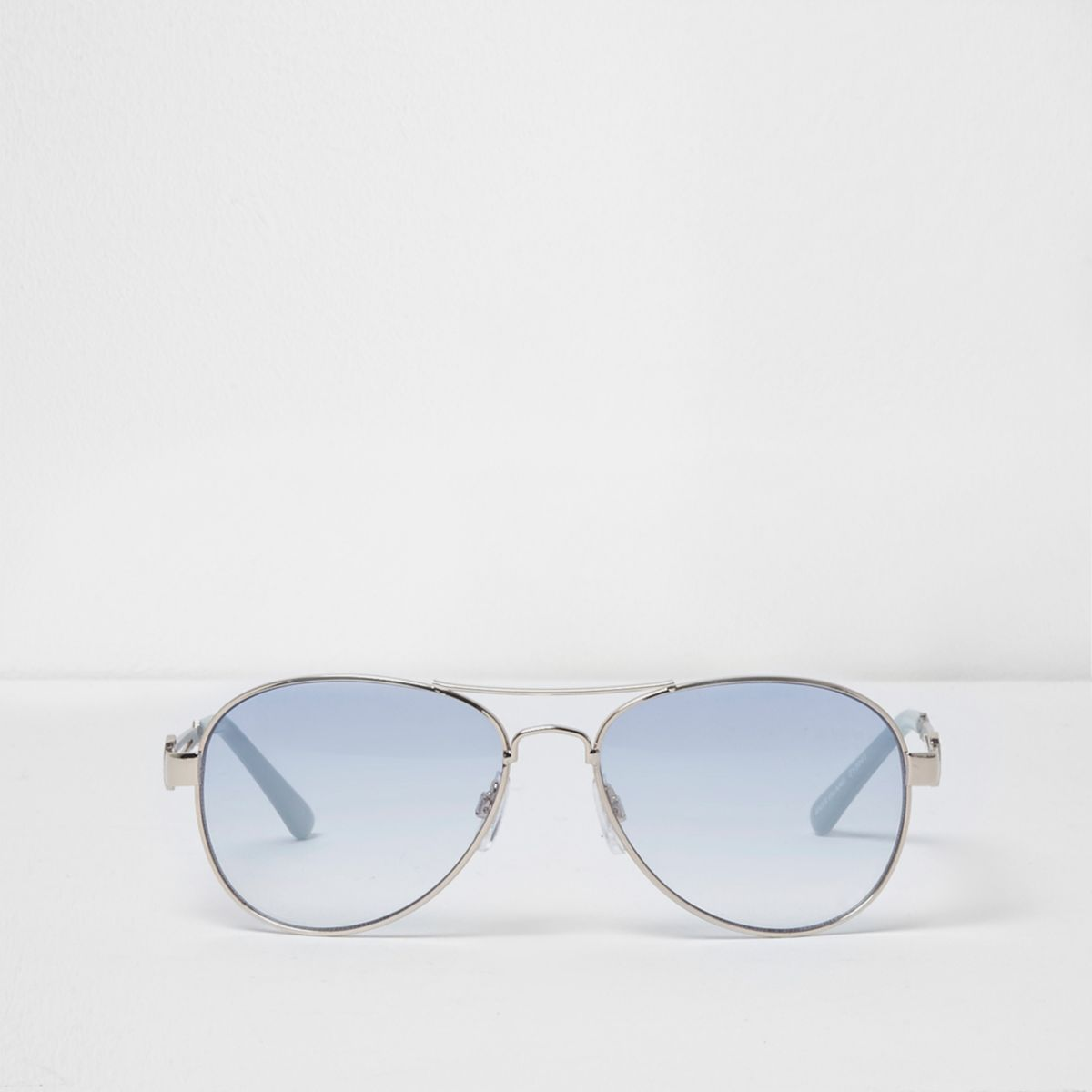 Silver tone blue lens aviator sunglasses