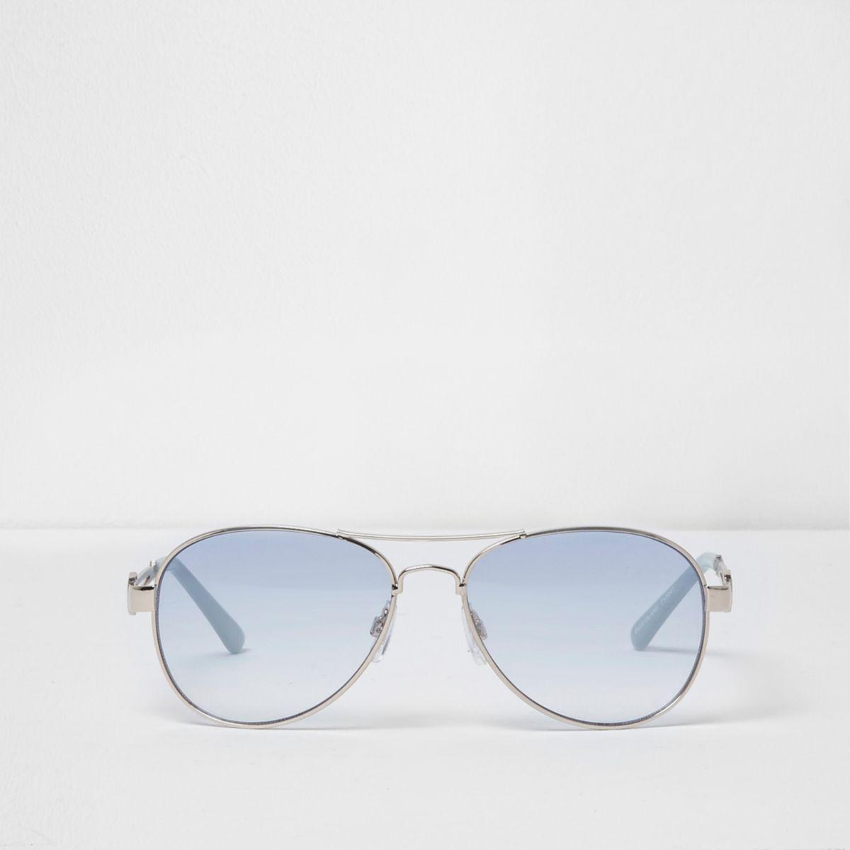Silver tone blue lens aviator sunglasses