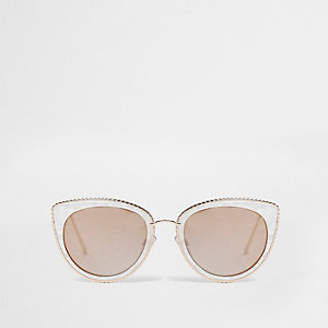 White faux pearl cat eye sunglasses