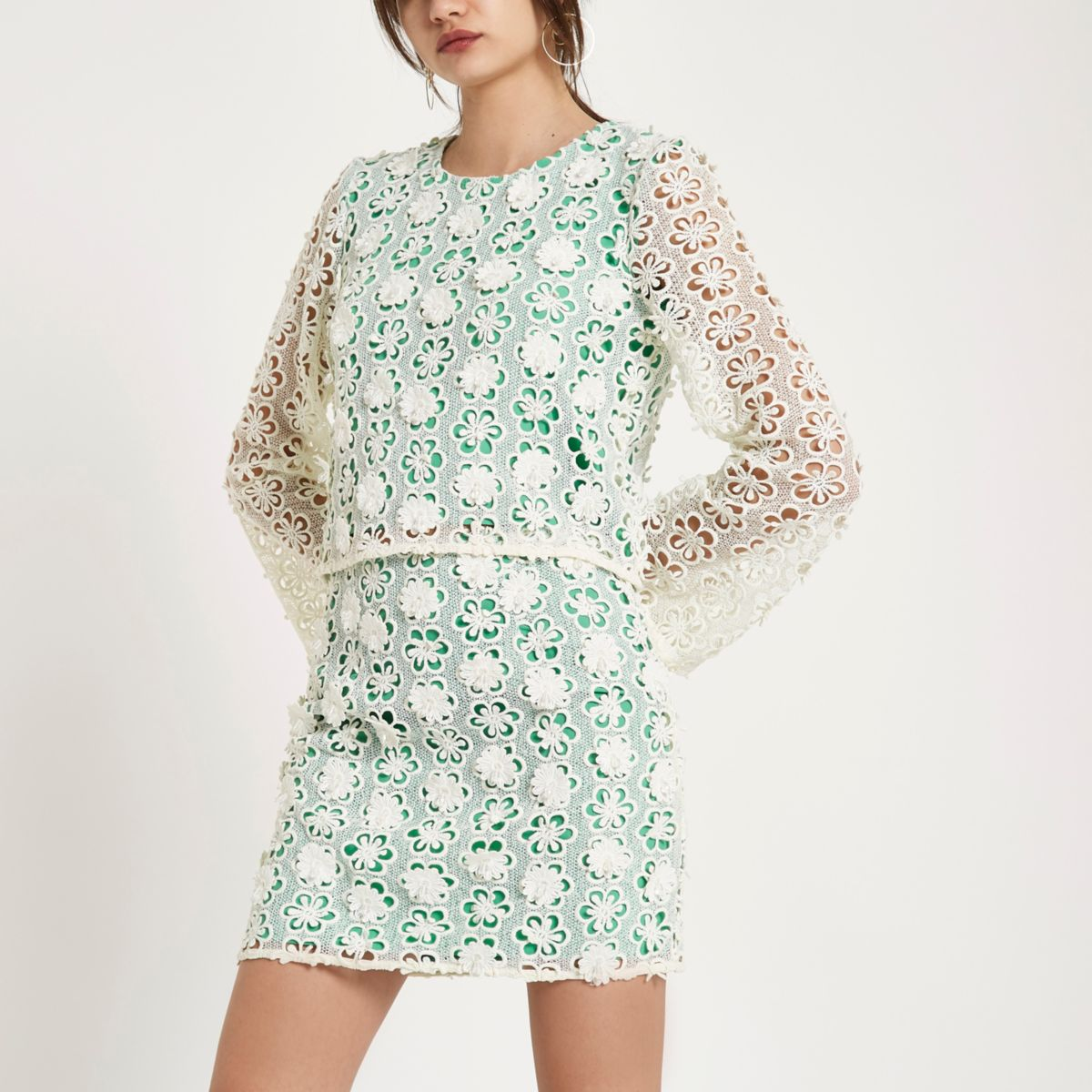 Green floral lace embellished top
