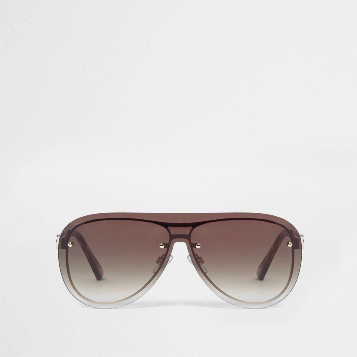 Gold tone visor aviator sunglasses