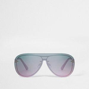 Gold tone visor aviator pink lens sunglasses