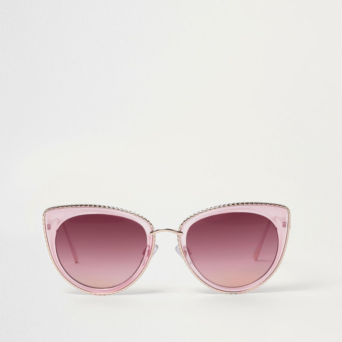 Pink cat eye gold tone trim sunglasses