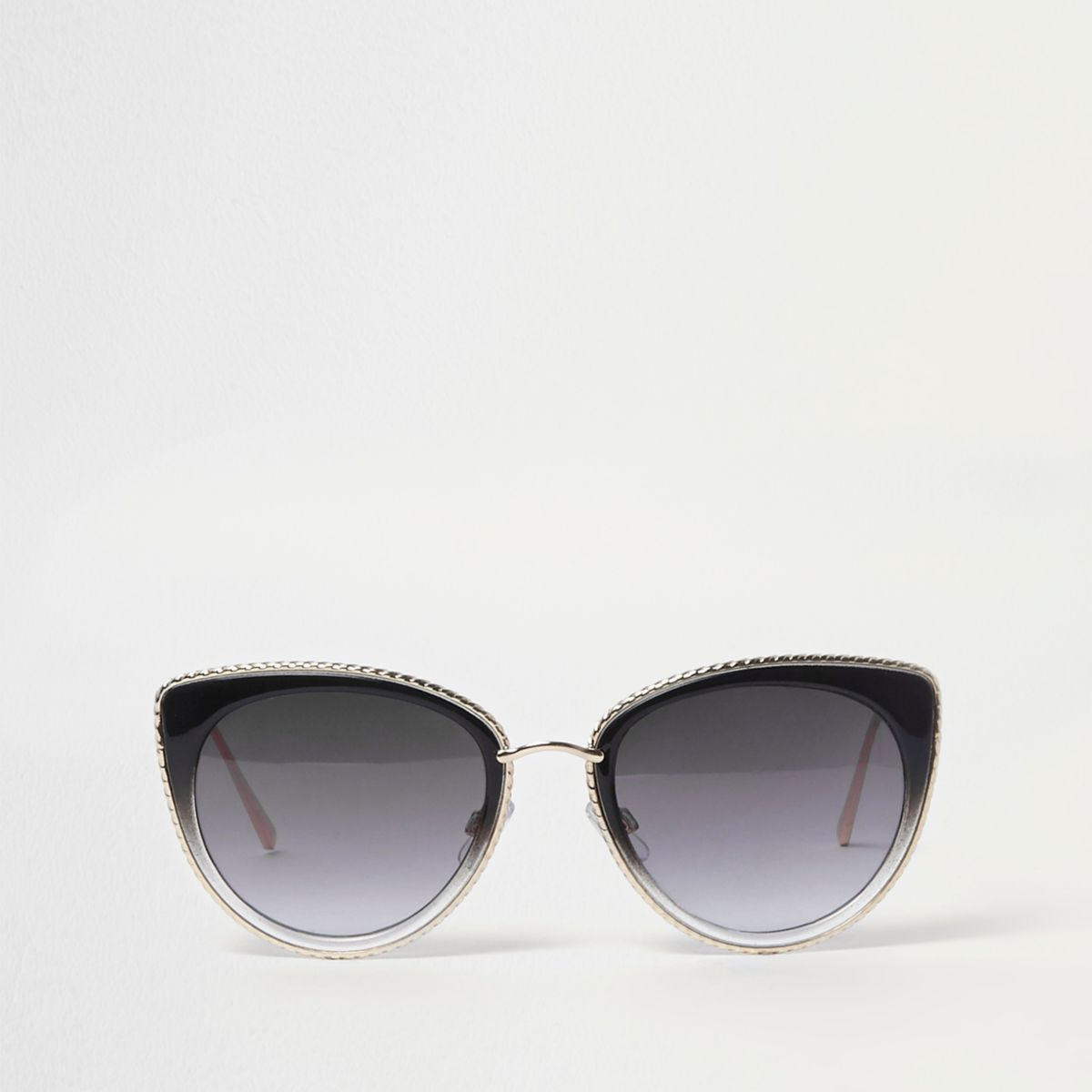 Black cat eye gold tone trim sunglasses