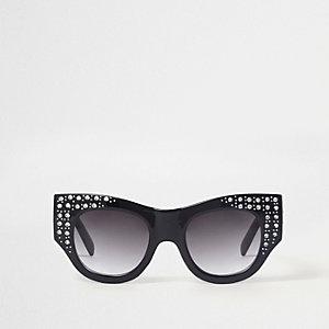 Black diamante embellished glam sunglasses