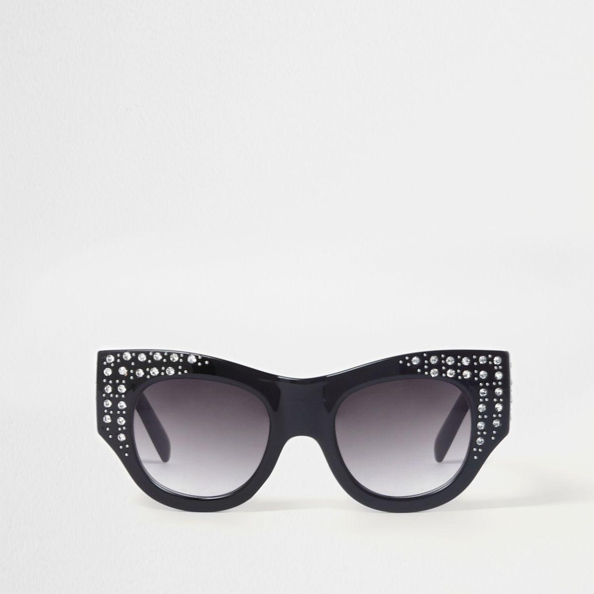 Zwarte verfraaide glamoureuze zonnebril met diamantjes