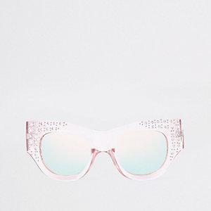 Roze glamoureuze zonnebril met siersteentjes