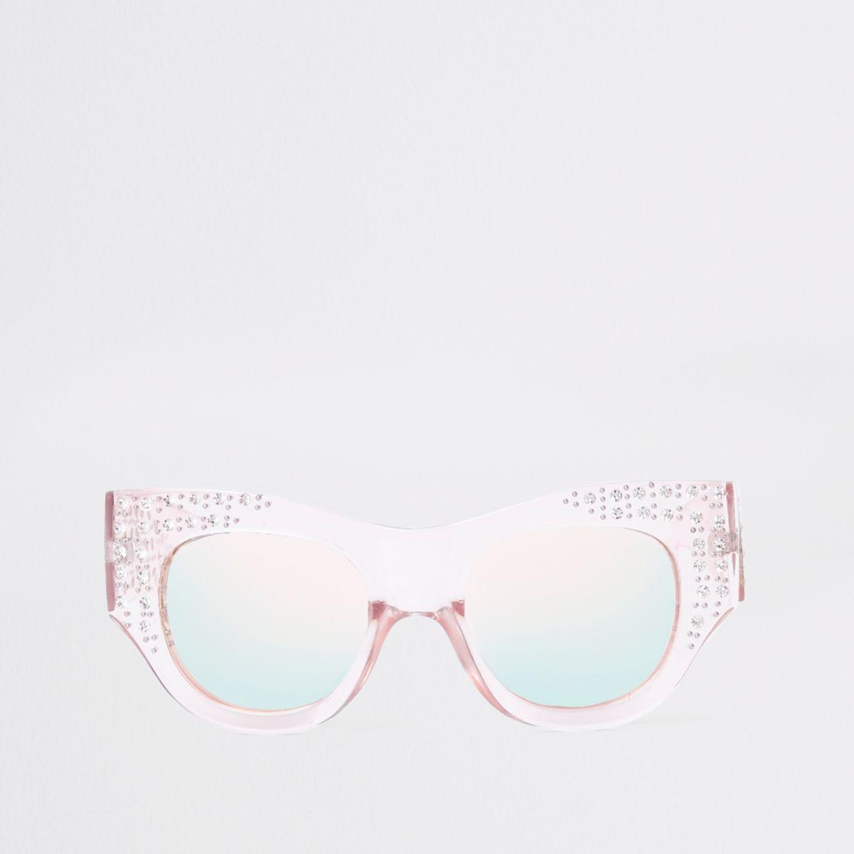 Pink rhinestone embellished glam sunglasses