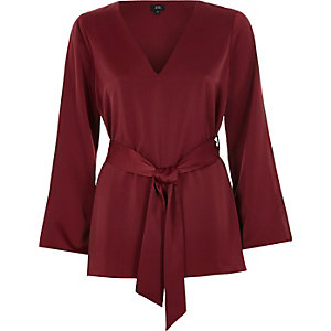 Dark red tie waist split long sleeve blouse