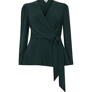Dark green tie front wrap blouse