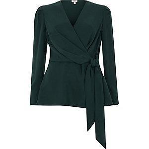 Dark green tie front wrap blouse