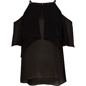Zwarte schouderloze blouse met ruches en halternek
