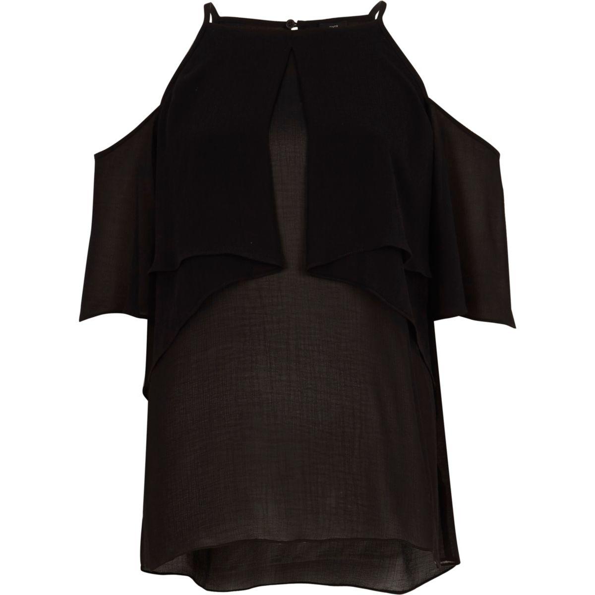 Black frill halter neck cold shoulder blouse