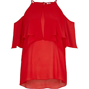 Red frill halter neck cold shoulder blouse