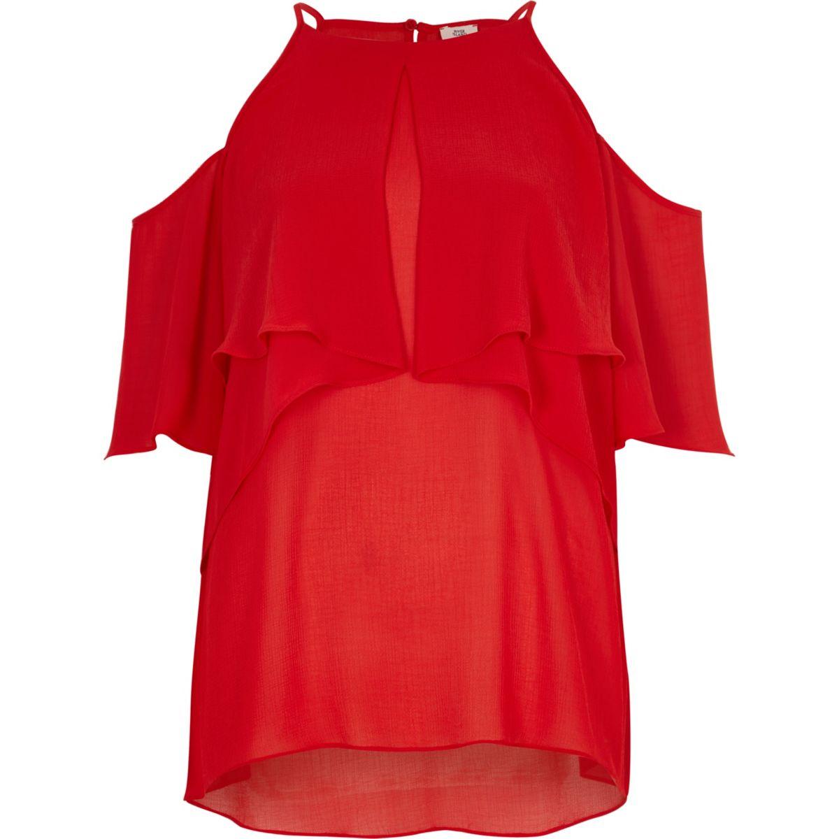 Red frill halter neck cold shoulder blouse