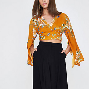 Orange floral wrap kimono sleeve crop top