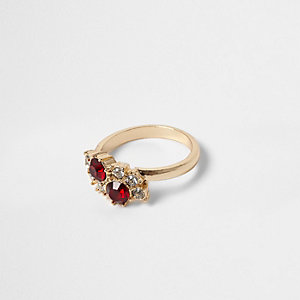 Gold tone ruby gem and rhinestone ring