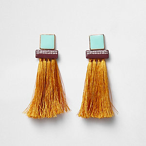 Orange tassel square dangle earrings