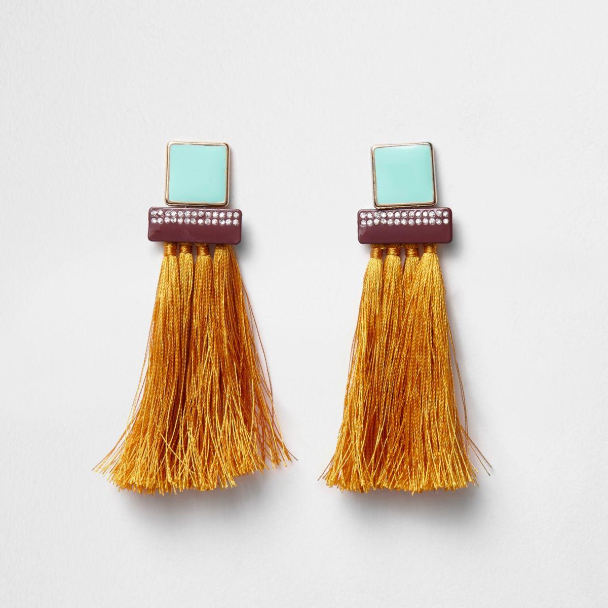 Orange tassel square dangle earrings