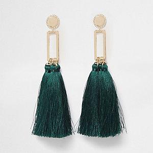 Green square tassel drop earrings