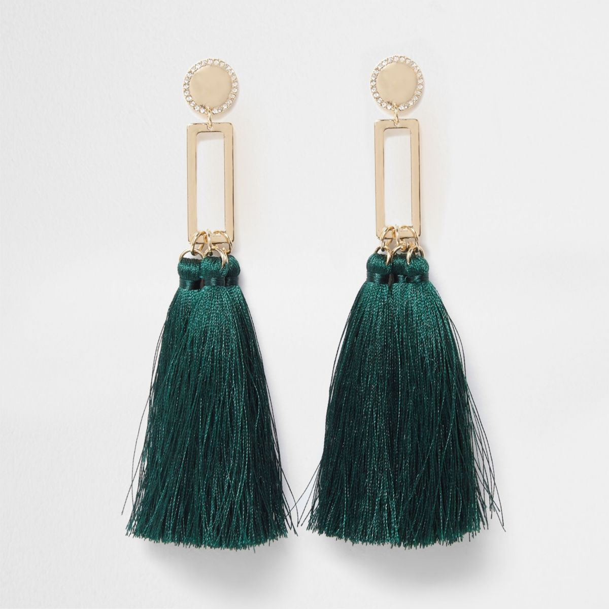 Green square tassel drop earrings