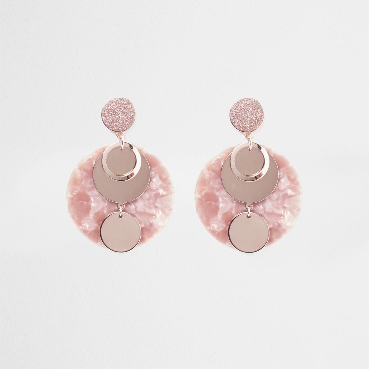 Pink quartz disc glitter dangle earrings