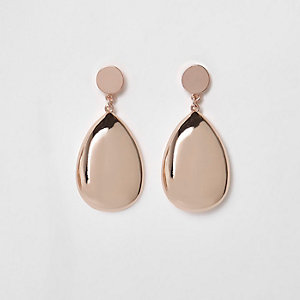 Rose gold tone teardrop earrings