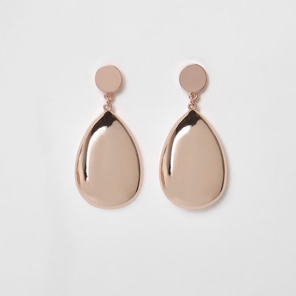 Rose gold tone teardrop earrings