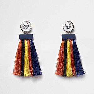 Yellow multicolored tassel drop earrings