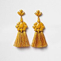 Pendants d'oreilles à pampilles et pierres jaune moutarde
