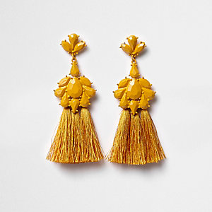 Mustard yellow jewel tassel drop earrings