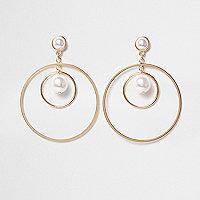 Créoles dorées imitation perle