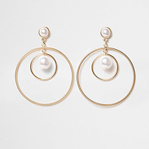Gold tone faux pearl hoop earrings