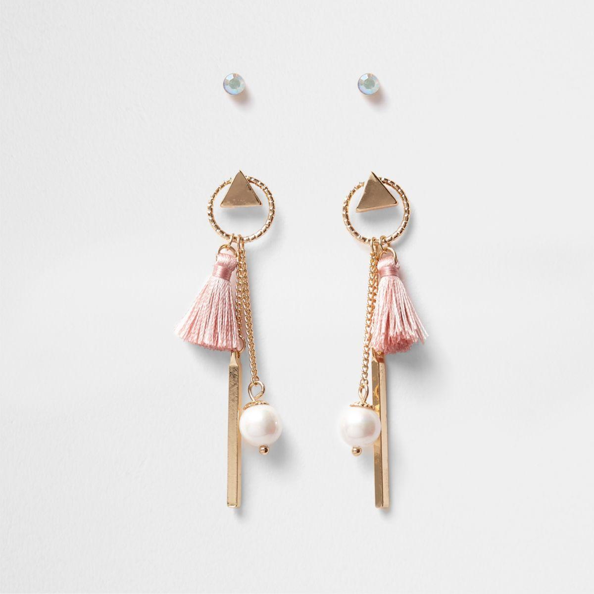 Gold tone mini hoop tassel stud earrings pack