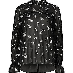 Black floral foil print chiffon blouse