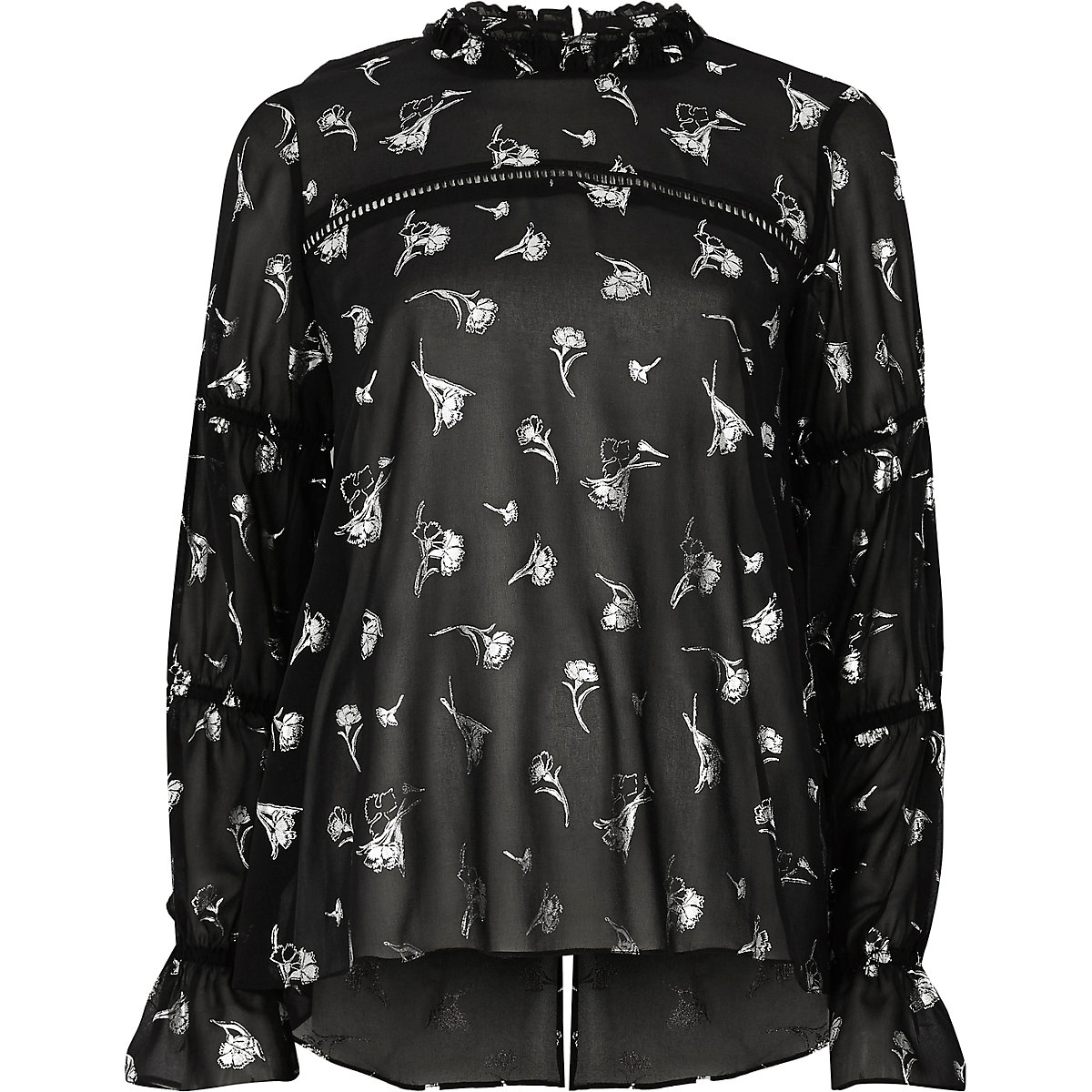 Schwarze Chiffon-Bluse mit Blumenprint